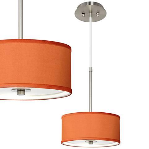 """Orange Faux Silk 10 1/4"""" Wide Mini Pendant"""