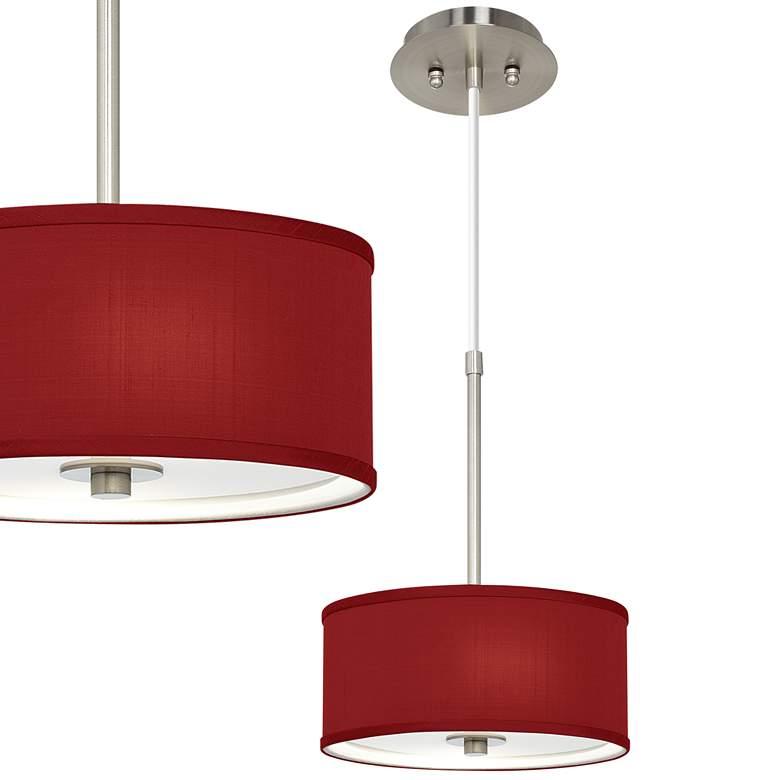 "Red Textured Faux Silk 10 1/4"" Wide Mini Pendant"