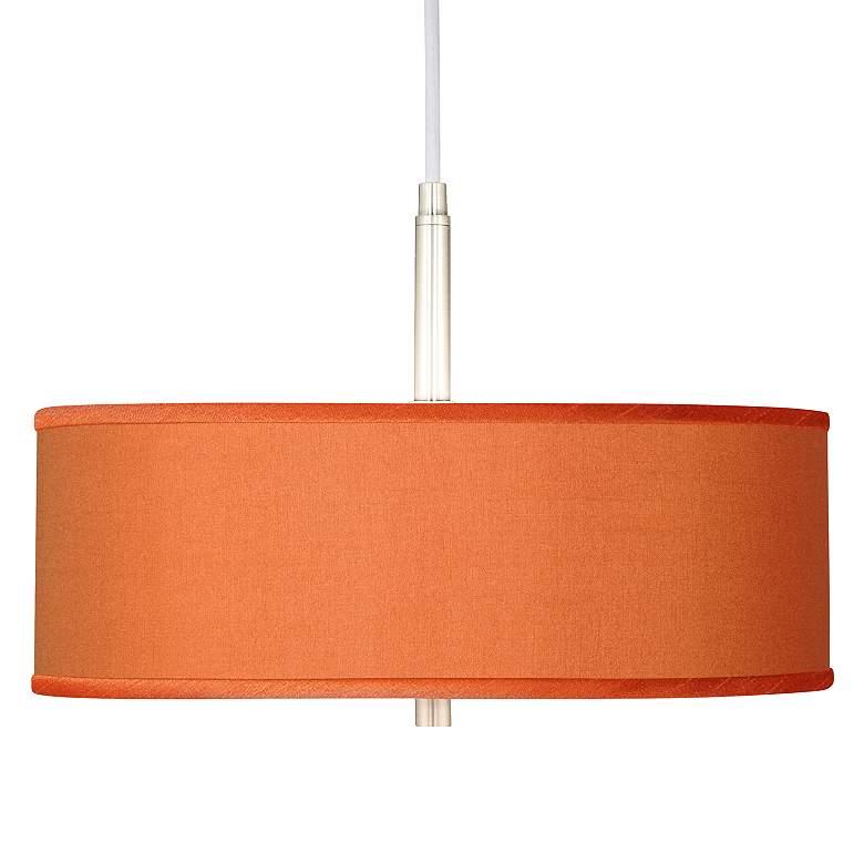 "Orange Polyester 16"" Wide Pendant Light"