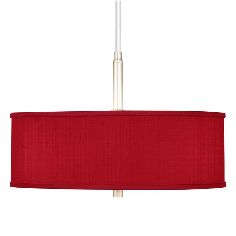 """Red Textured Polyester 16"""" Wide Pendant Chandelier"""