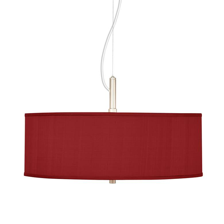 "Red Textured Faux Silk 20"" Wide Pendant Chandelier"