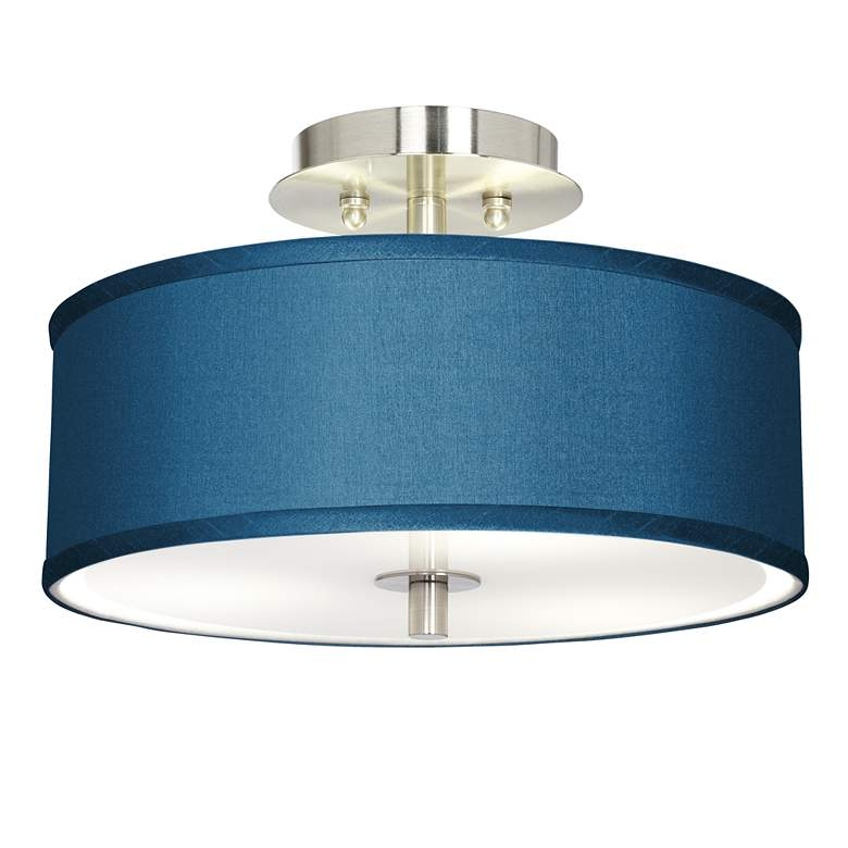 """Blue Polyester 14"""" Wide Steel Ceiling Light"""