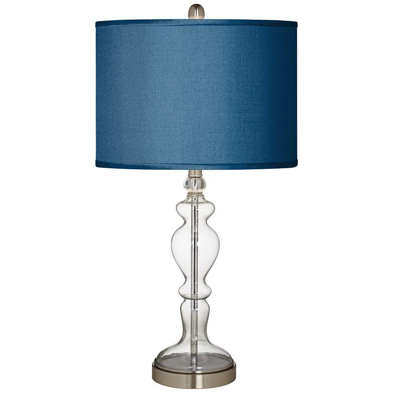 Blue Polyester Apothecary Clear Glass Table Lamp