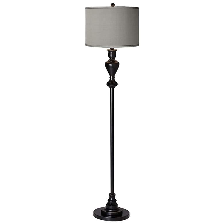 Gray Polyester Black Bronze Floor Lamp