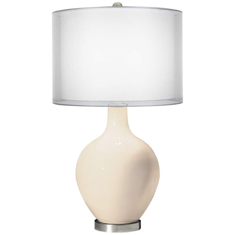 Steamed Milk Double Sheer Silver Shade Ovo Table Lamp