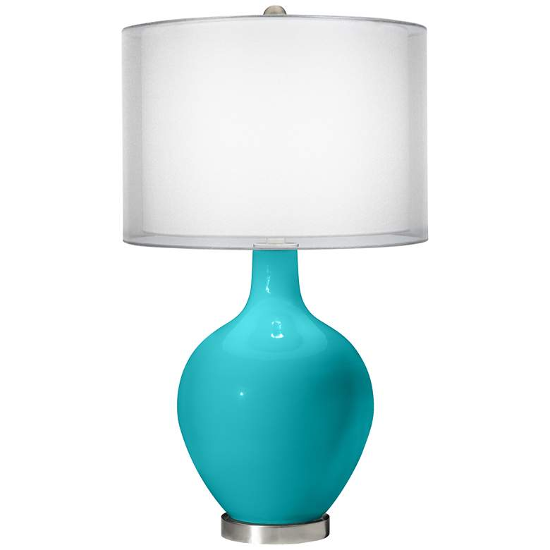 Surfer Blue Double Sheer Silver Shade Ovo Table Lamp