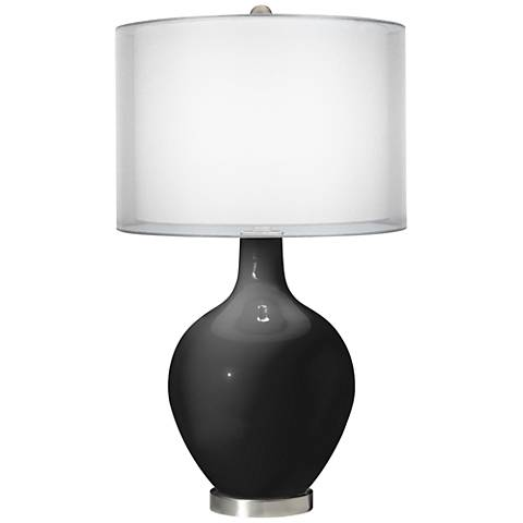 Tricorn Black Double Sheer Silver Shade Ovo Table Lamp