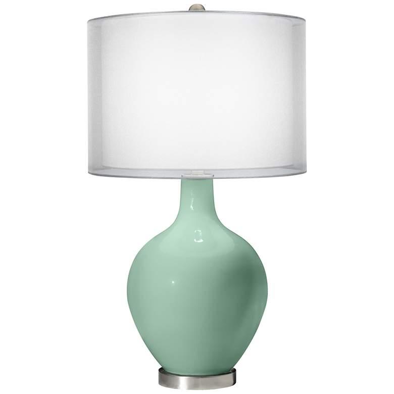 Grayed Jade Double Sheer Silver Shade Ovo Table Lamp
