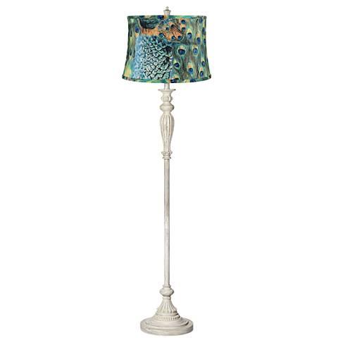 Peacock Print Shade Shabby Chic Antique White Floor Lamp
