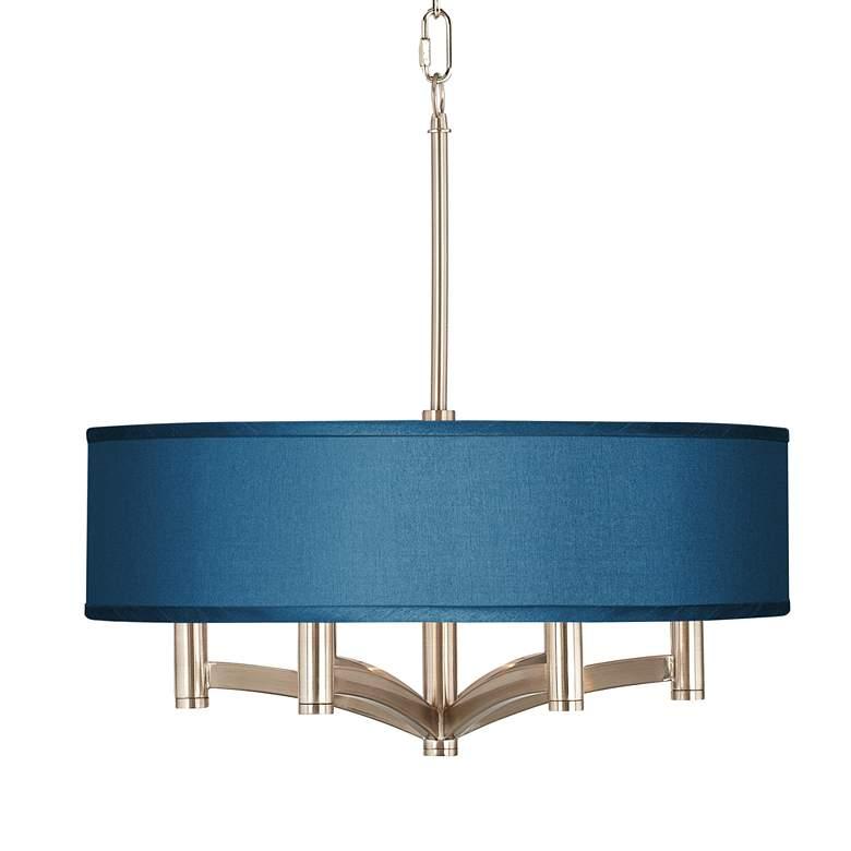 Blue Faux Silk Ava 6-Light Nickel Pendant Chandelier