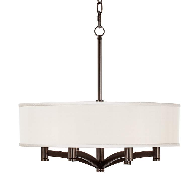 Cream Textured Ava 6-Light Bronze Pendant Chandelier