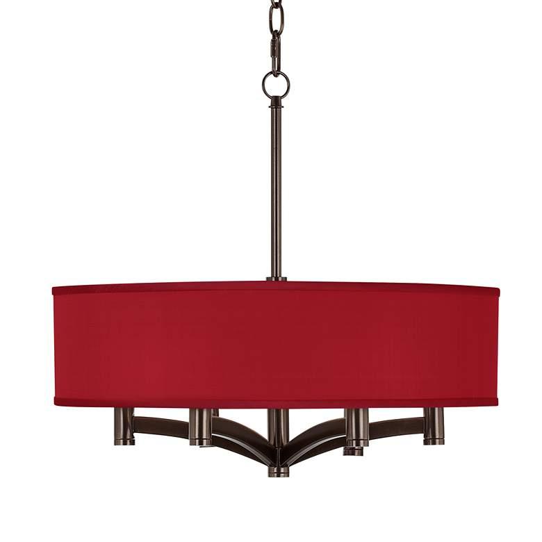 Red Textured Polyester Ava 6-Light Bronze Pendant Chandelier