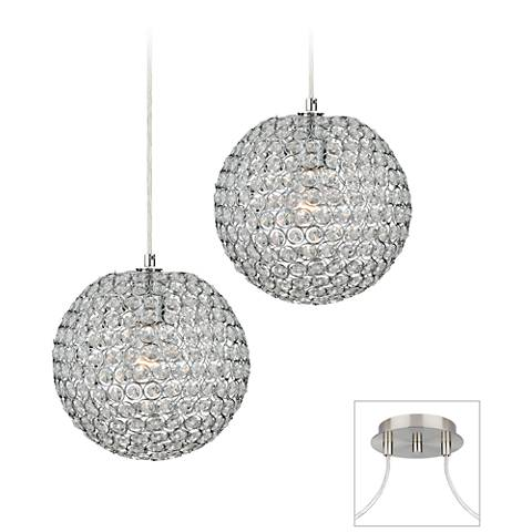 Crystal Beaded - Brushed Nickel Double Multi Light Pendant