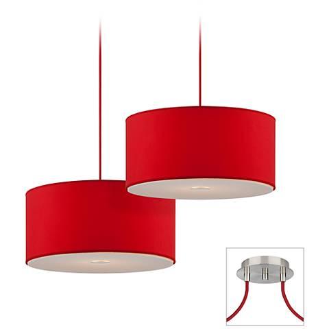 Possini Euro Red Brushed Nickel Double Multi Light Pendant