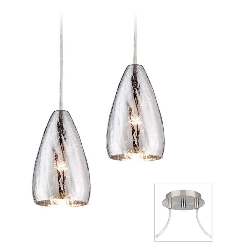 Possini Euro Portico Brushed Nickel Double Swag Chandelier