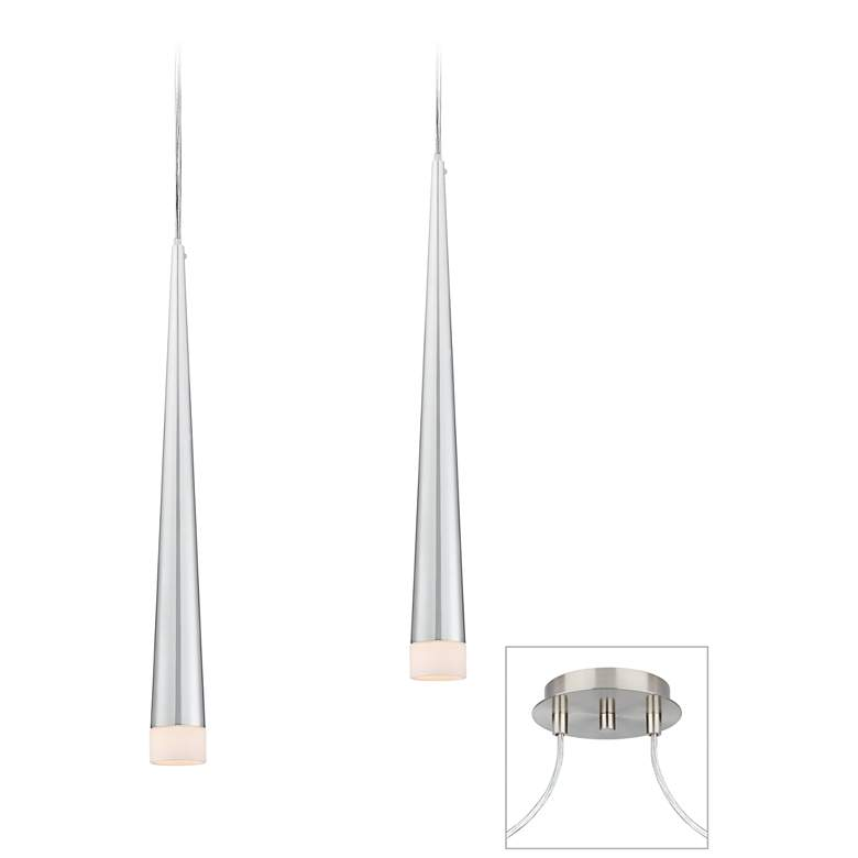 Possini Euro Slim Cone Brushed Nickel 2-Light Multi Pendant