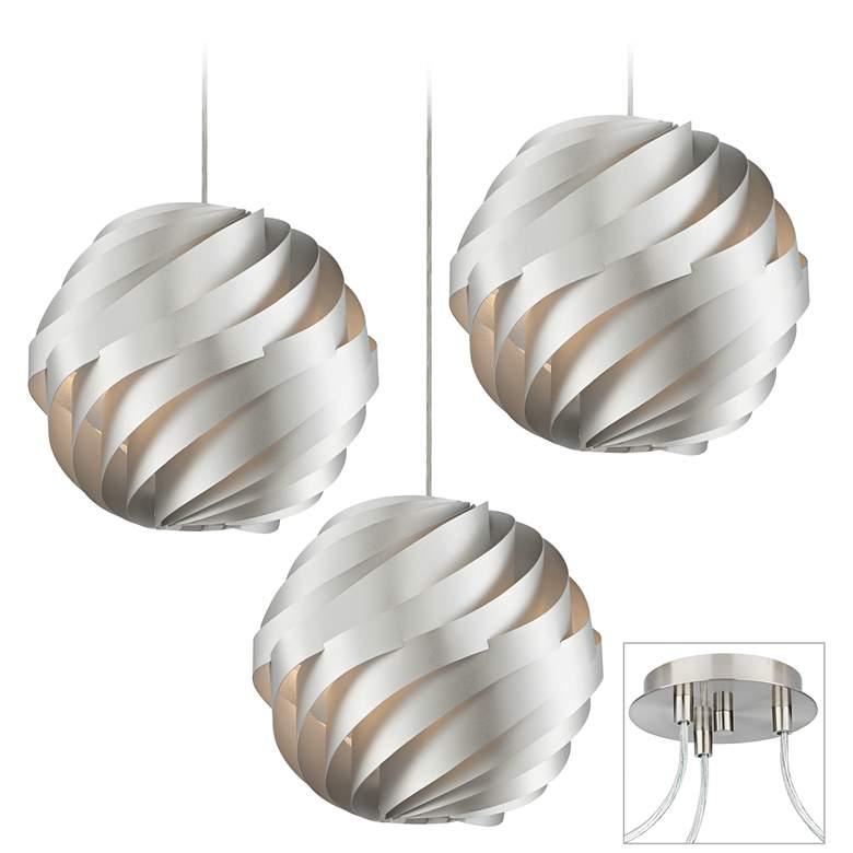Silver Waves Brushed Nickel Triple Multi Light Pendant