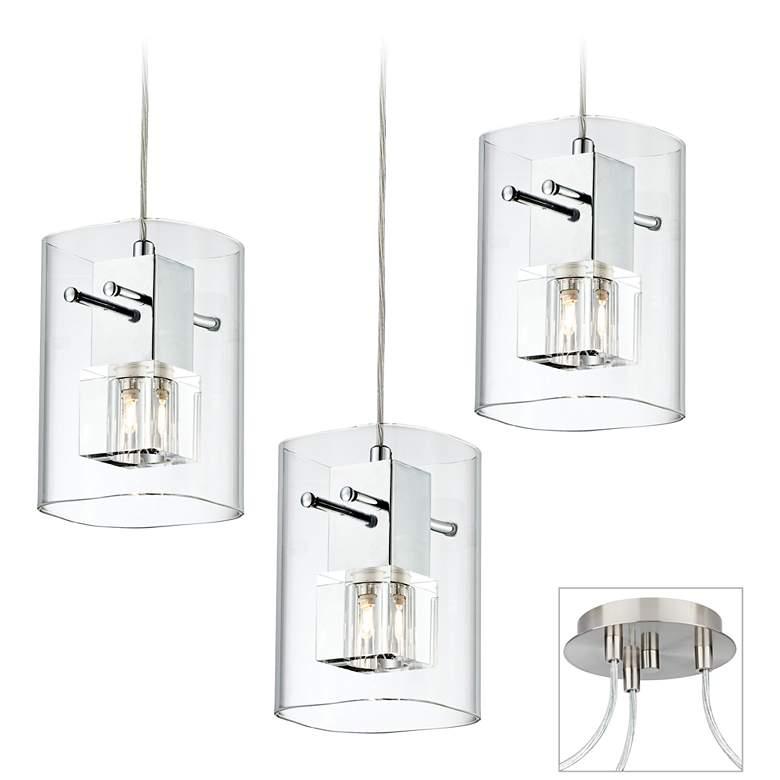 Square Glass Brushed Nickel Triple Multi Light Pendant