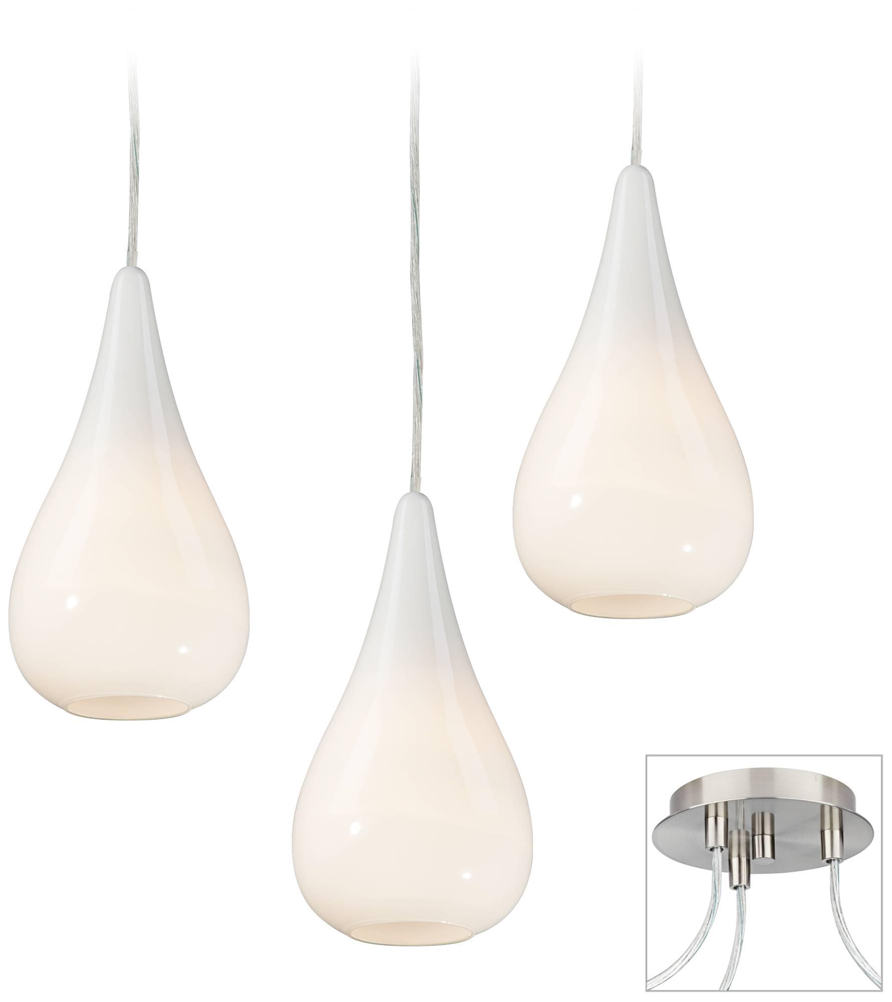 Details About Possini Euro Design Ice Drop Brushed Nickel 3 Light Pendant