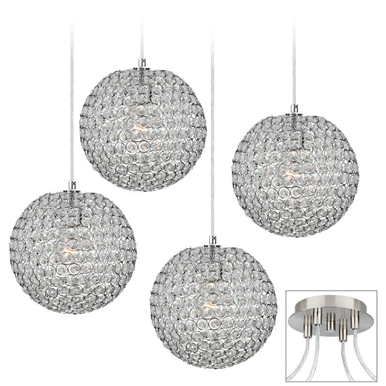 Crystal Beaded Brushed Nickel 4-Light Multi Light Pendant