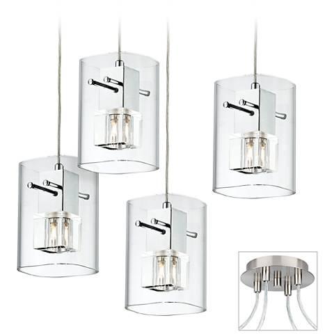 Square Glass Brushed Nickel 4-Light Multi Light Pendant