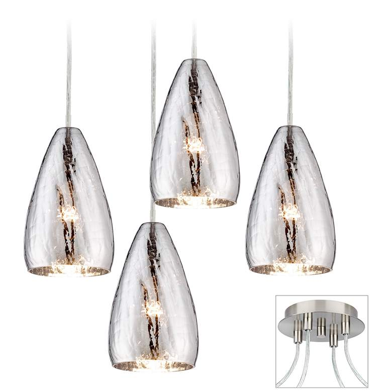 Possini Euro Design Portico Brushed Nickel 4 Swag Chandelier