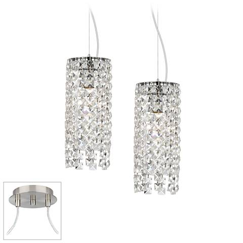 Crystal Cascade Brushed Nickel Double Multi Light Pendant