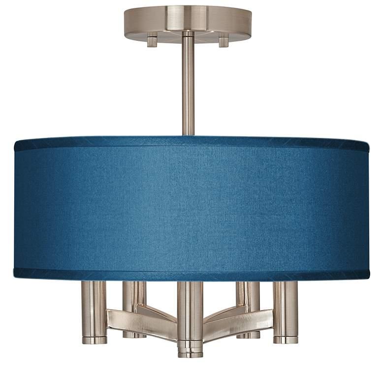 Blue Faux Silk Ava 5-Light Nickel Ceiling Light