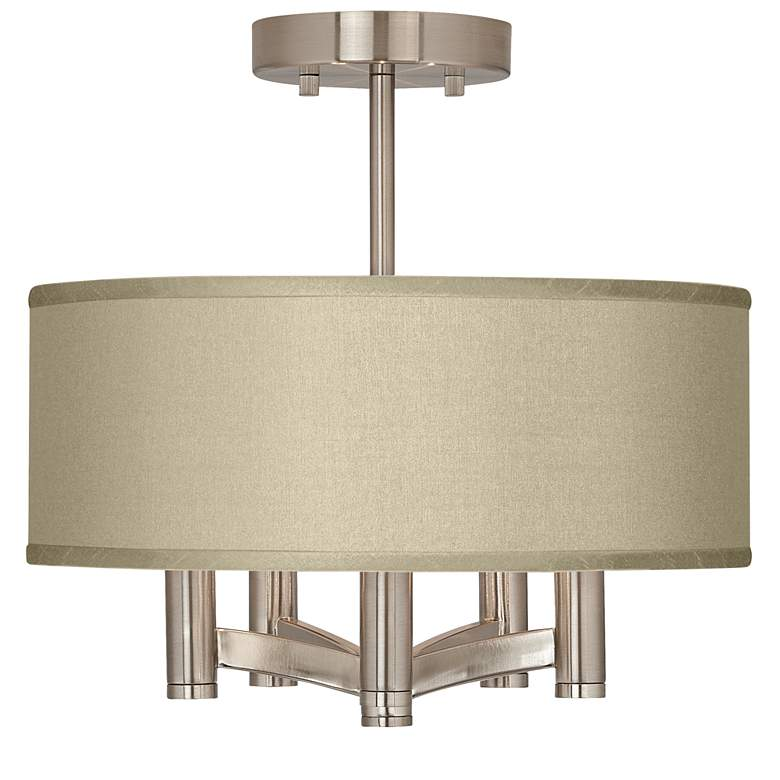 Sesame Textured Faux Silk Ava 5-Light Nickel Ceiling Light