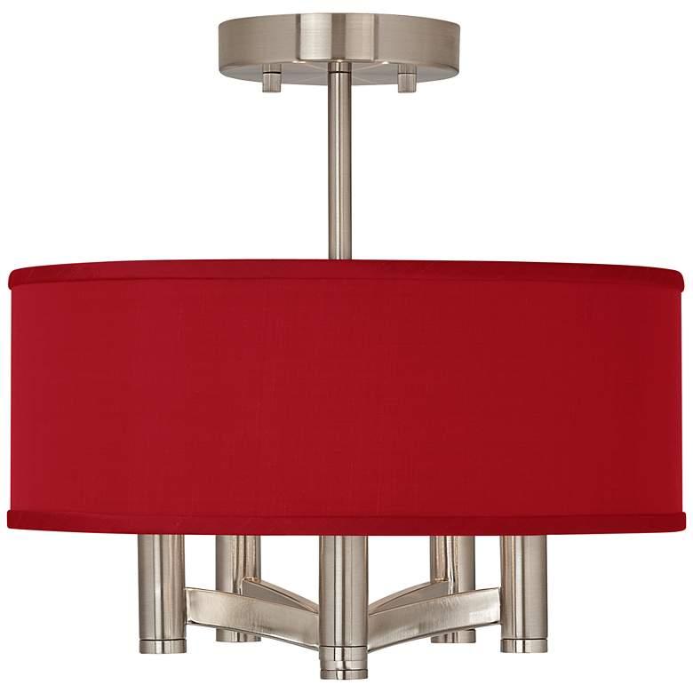 Red Textured Faux Silk Ava 5-Light Nickel Ceiling Light