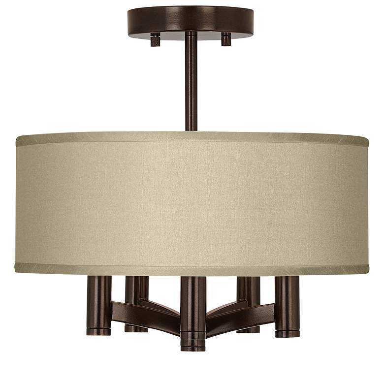 Sesame Faux Silk Ava 5-Light Bronze Ceiling Light