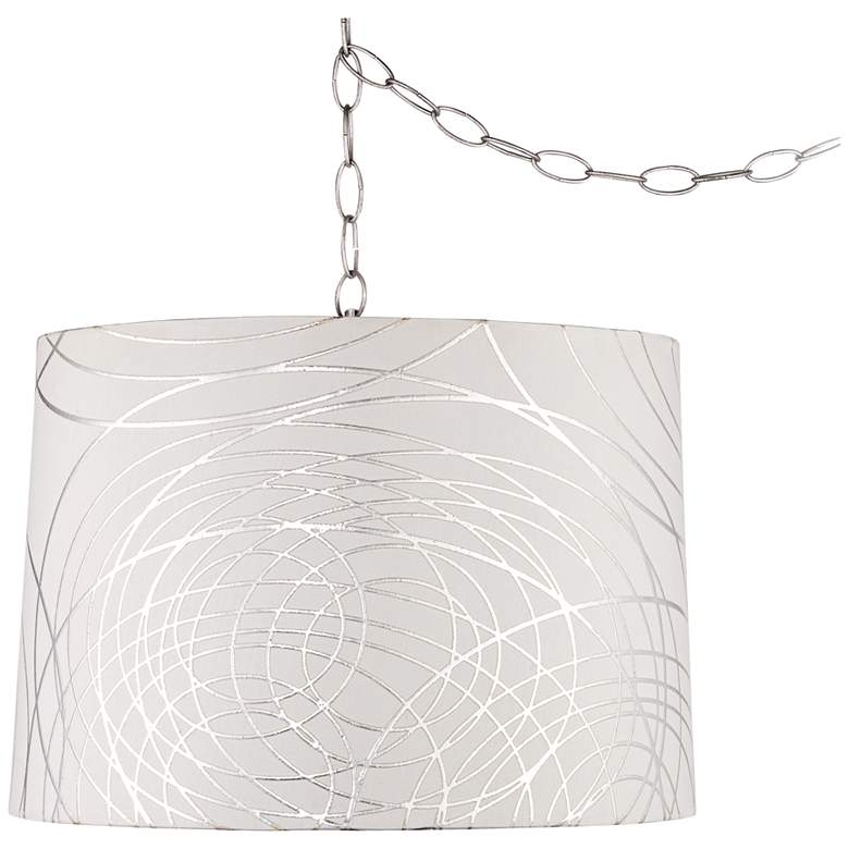 """Abstract Silver Circles 16""""W Steel Plug-In Swag Chandelier"""