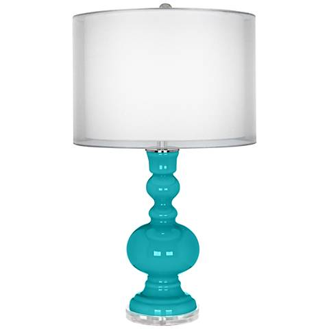 Surfer Blue Sheer Double Shade Apothecary Table Lamp