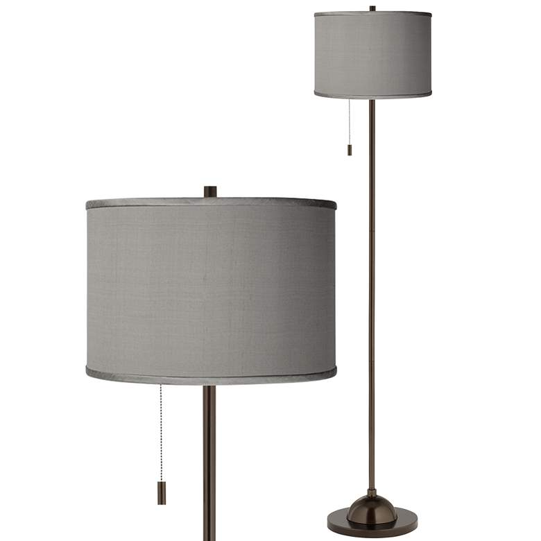 Gray Faux Silk Bronze Club Floor Lamp