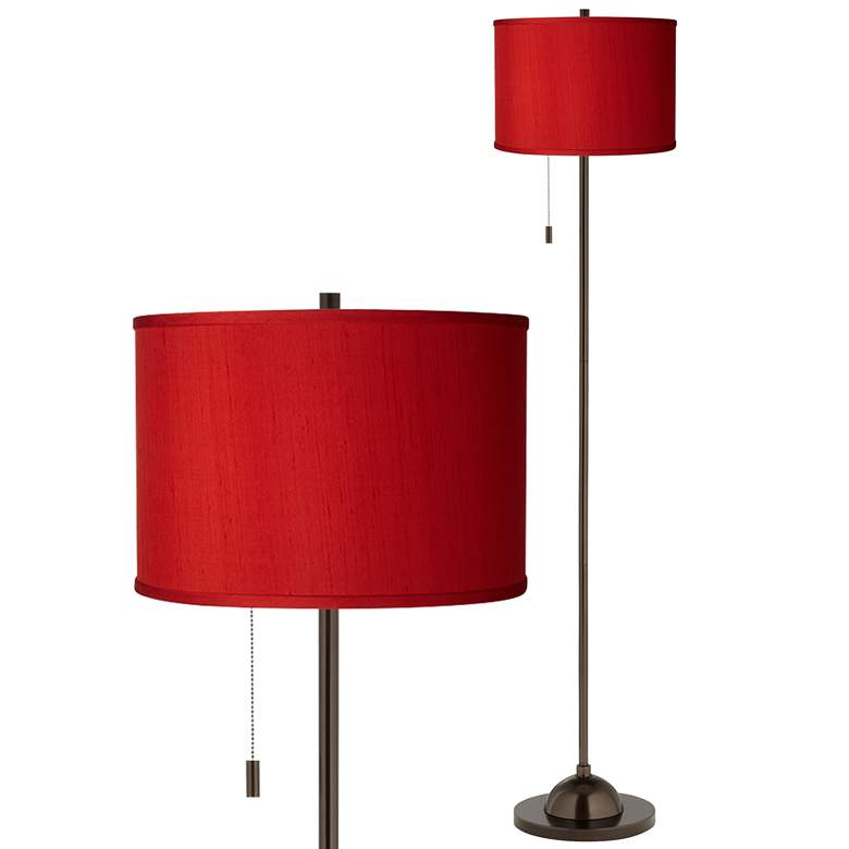 Red Textured Faux Silk Bronze Club Floor Lamp
