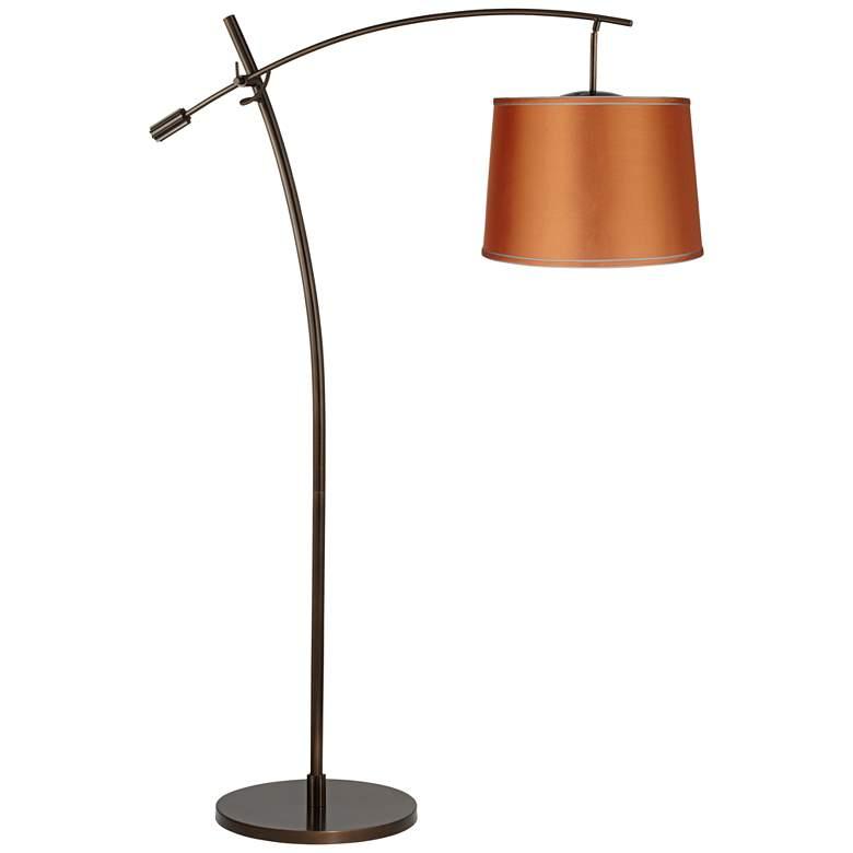 Tara Orange Satin Shade Balance Arm Arc Floor Lamp