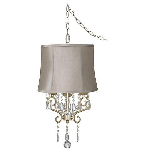 "Conti 16"" Wide Mini Swag Chandelier with Taupe Shade"