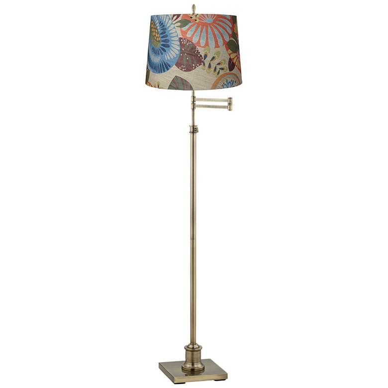 Westbury Tropic Drum Shade Brass Swing Arm Floor Lamp