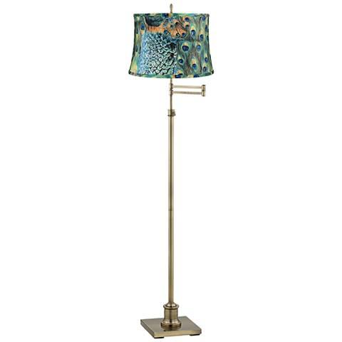 Westbury Peacock Print Shade Brass Swing Arm Floor Lamp