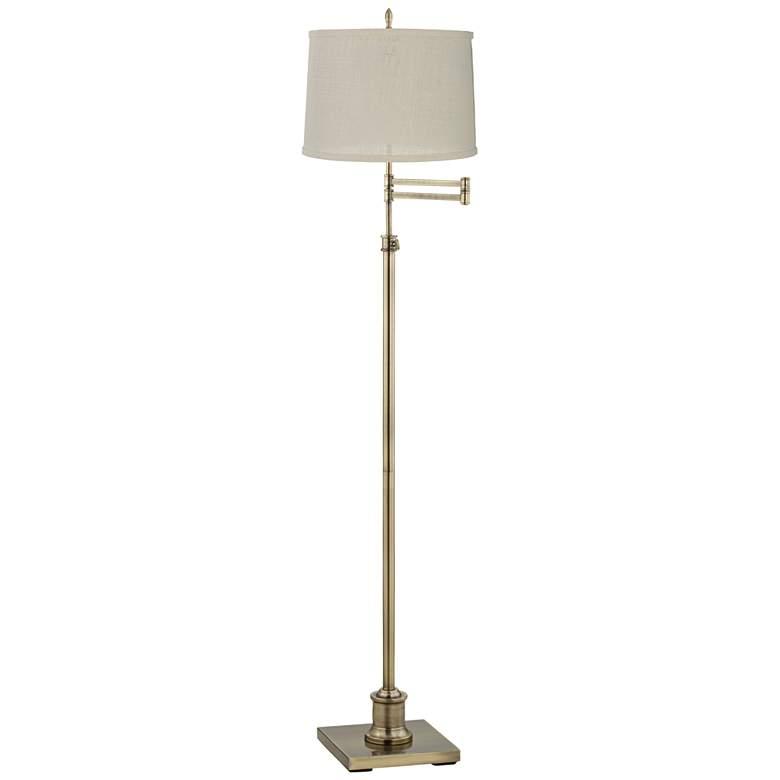 Westbury Cream Burlap Shade Brass Swing Arm Floor Lamp