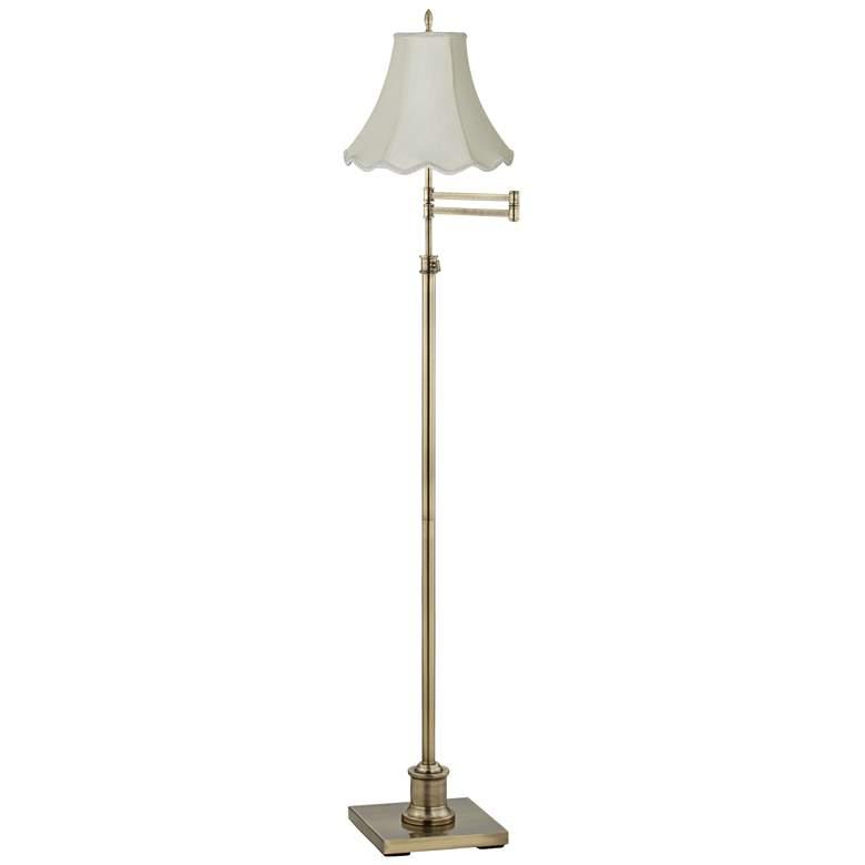 Westbury Imperial Scalloped Bell Brass Swing Arm Floor Lamp
