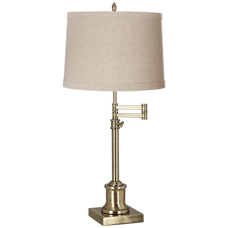 Westbury Natural Linen Shade Brass Swing Arm Desk Lamp