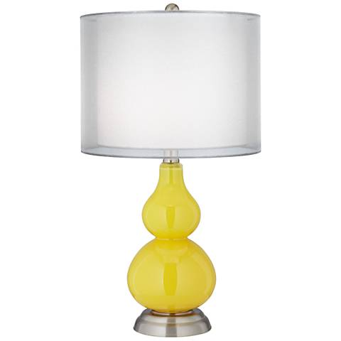 Citrus Yellow Double Shade Small Gourd Accent Table Lamp