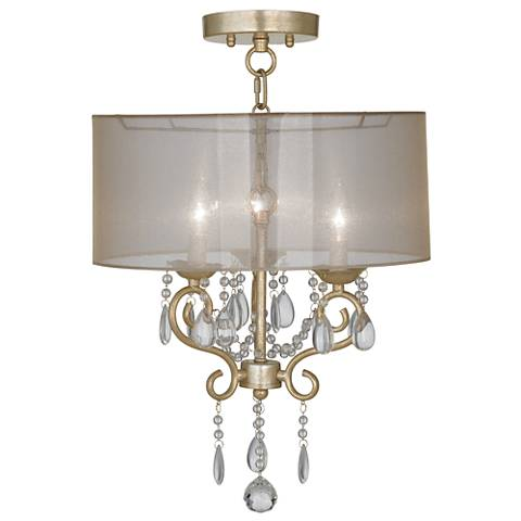 """Conti 16"""" Wide Ceiling Light with Sheer Gold Shade"""