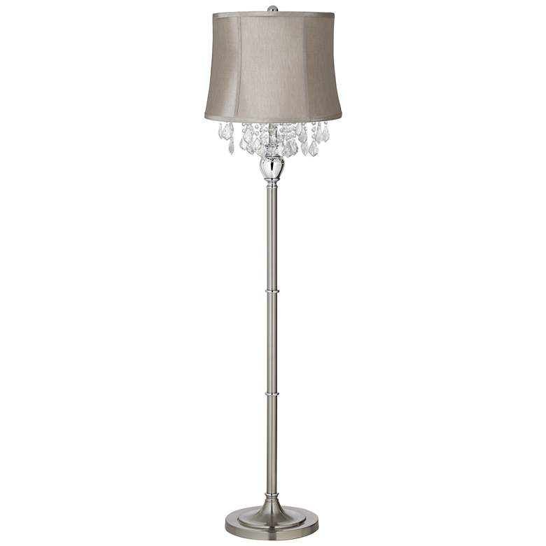 Crystals Taupe Gray Shade Brushed Nickel Floor Lamp