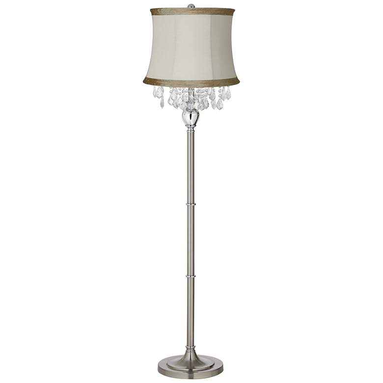 Crystals Ivory Linen Shade Brushed Nickel Floor Lamp