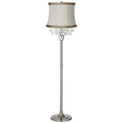 Crystals Ivory Linen Shade Satin Steel Floor Lamp