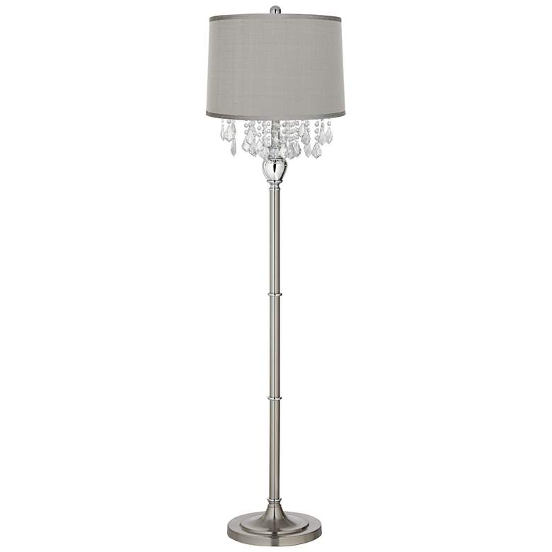 Crystals Platinum Gray Dupioni Brushed Nickel Floor Lamp
