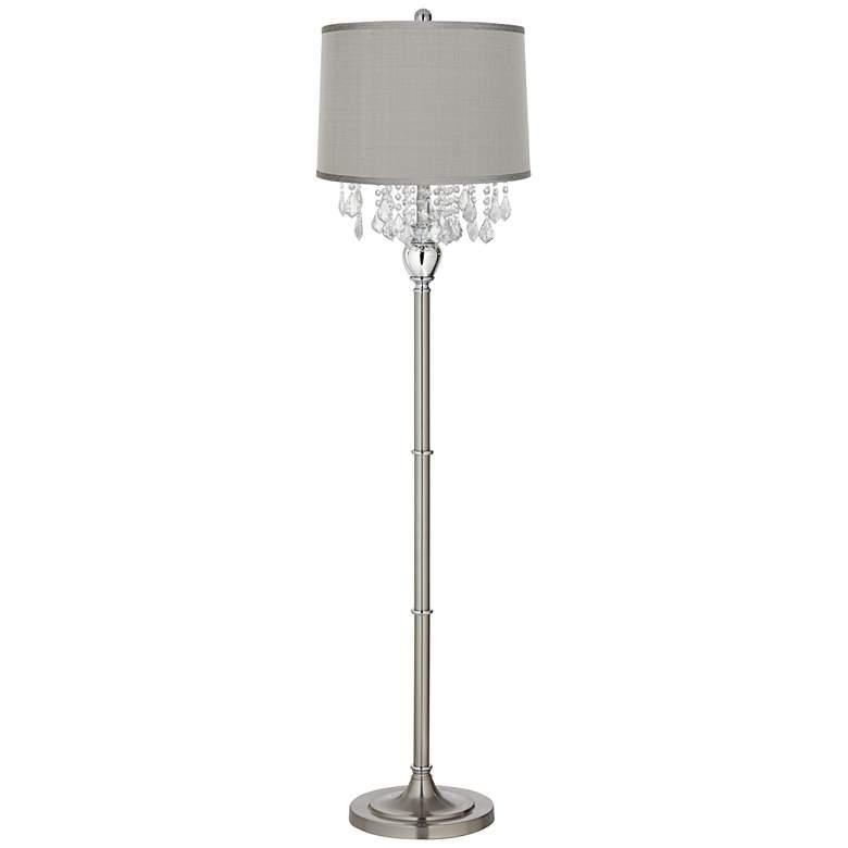 Crystals Platinum Gray Dupioni Brushed Nickel Floor Lamp