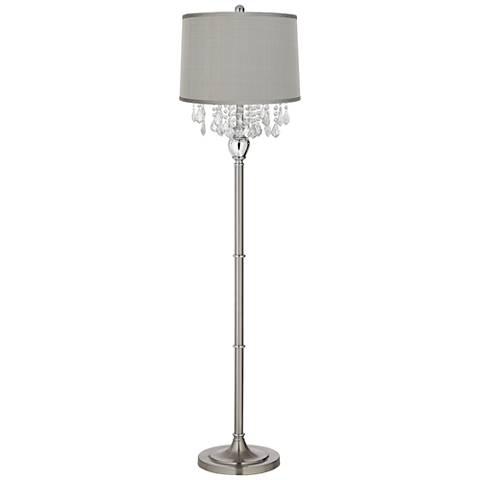 Crystals Platinum Gray Dupioni Satin Steel Floor Lamp